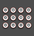 player buttons set in paper cut style symbols vector image vector image
