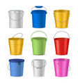 realistic detailed 3d color buckets set vector image