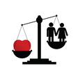 scales with couple in love vector image vector image