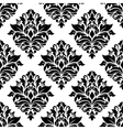 Seamless black damask floral background design vector image vector image