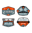 Set of race and camping patch vector image vector image