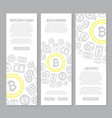 set of three digital money and bitcoin vertical vector image vector image