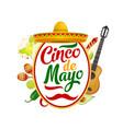 sombrero maracas guitar mexican cinco de mayo vector image vector image