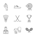 Sports stuff icons set outline style vector image vector image