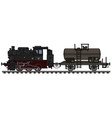 steam locomotive and tank wagon vector image