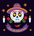 sugar skull in sombrero hat day dead vector image