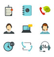 support help desk icons set flat style vector image vector image