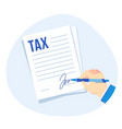 tax form signing corporate taxes report vector image vector image