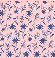 tender hand drawn blue on pink ink flowers pattern vector image