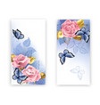 two banners with pink roses vector image vector image