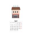 vertical wall calendar page for month 2021 vector image vector image