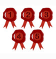 wax number stamps 1 to 5 vector image