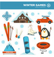 winter games sports and pastime hobbies set with vector image