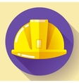 Yellow construction worker helmet icon Flat vector image vector image