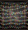 set of color garland lights glowing christmas vector image