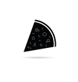 pizza slice black and white vector image
