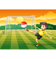A female soccer player kicking the ball with the vector image