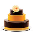 a multi layered chocolate cake with rose vector image vector image