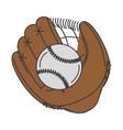 baseball glove with ball vector image vector image