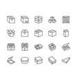box flat line icon set carton wood boxes vector image
