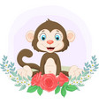 cartoon cute monkey sitting with flowers vector image vector image