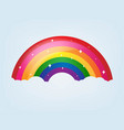 cartoon rainbow with stars and blue background vector image vector image