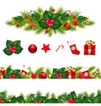 Christmas Borders Set With Xmas Garland vector image vector image