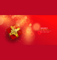 christmas new year red gold top view gift box card vector image