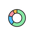 circle graph flat color icon isolated on white vector image vector image