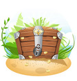 closed treasure chest cartoon vector image vector image