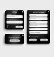 collection dark login and register web screen vector image