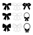 Collection of black and white bows vector image vector image