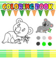 coloring book cute koala cartoon vector image vector image