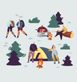 company young people spend time at summer camp vector image vector image