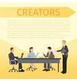 creators sitting at table and discussing ideas vector image