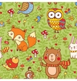 Cute seamless pattern with forest animals vector image vector image