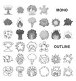 different explosions monochrom icons in set vector image