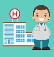 Doctor and hospital background vector image vector image