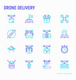 drone delivery thin line icons set vector image