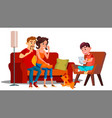 family relaxing at home together isolated vector image vector image