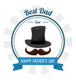 fathers day card best dad ever hat mustache vector image vector image