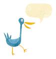 funny cartoon duck with speech bubble vector image vector image