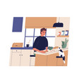 funny young man making sandwich in kitchen happy vector image vector image