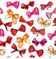 gift bows hand drawn seamless pattern vector image vector image