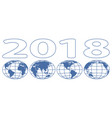 globes 2018 lettering vector image