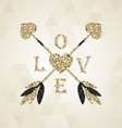 Gorgeous golden cupid arrows with valentine heart vector image