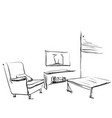 Hand drawn room interior sketch chair table