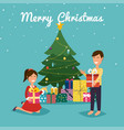 happy kids opening christmas gifts next to vector image