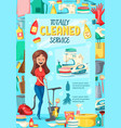 home cleaning service poster vector image vector image