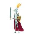 isolated medieval knight character standing vector image vector image